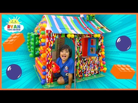 Ryan Pretend Play with Lego and Color Balls Box Fort Playhouse!