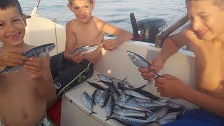 Pêche des enfants qui pêchent de la bonite à la traine en algérie