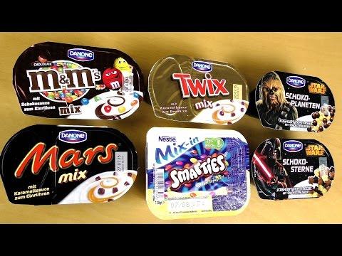 Mars Twix m&m Yogurt - Smarties and Chewbacca crunchy Yoghurt