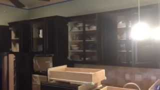 Old Masters Dark Walnut Gel Stain Glaze on Natural Wood Light Cabinets