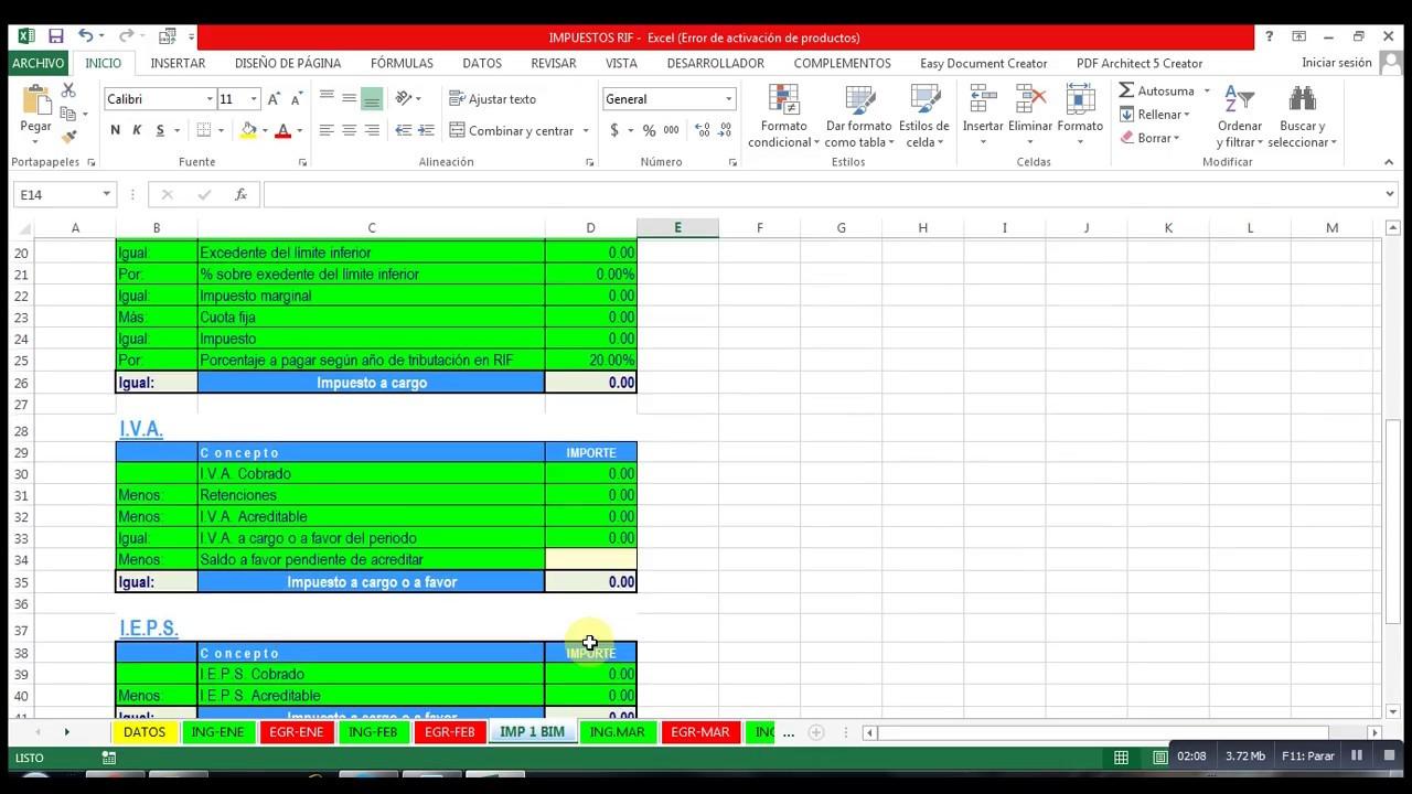 Hoja de Excel para el calculo de impuestos de un contribuyente RIF ...