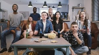 Diverse Group Get Upset Watching Sports on TV Football Fans Sad and Emotional Supporters Sit |