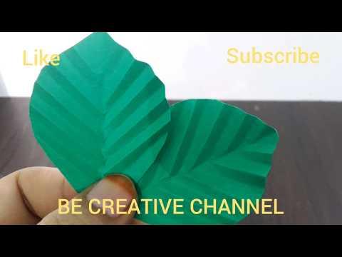 How to make paper flower leaves/DIY Easy paper leaf making tutorial/rose paper leaf
