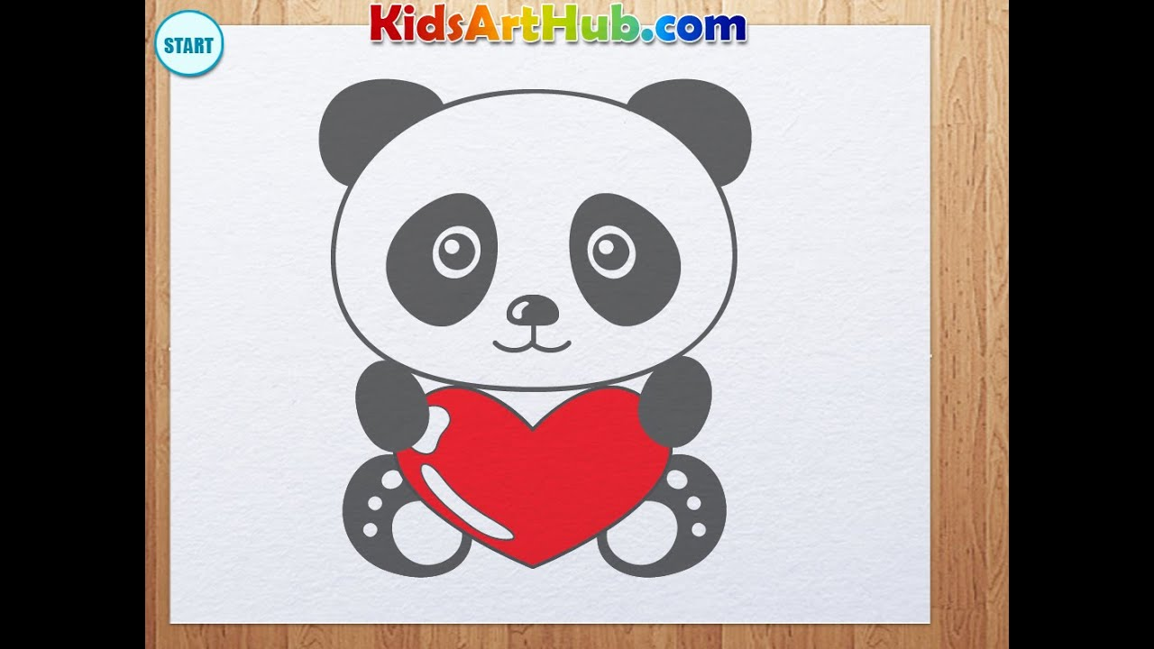 Uncategorized Drawings Of Panda Bears how to draw valentine day panda with heart youtube