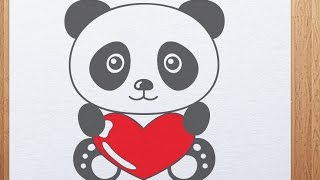How to draw Valentine Day Panda with heart