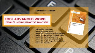 ECDL Advanced Word Lesson 31 Converting Text to a Table