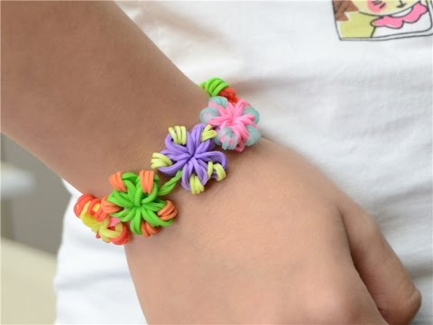 Super Easy Diy Rubber Band Jewelry Making Candy Color Flower Loom Bracelets