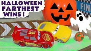 Disney Cars McQueen and Hot Wheels Superhero Cars Halloween farthest Wins Race TT4U