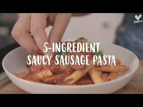 5 Ingredient Vegan Saucy Sausage Pasta So Vegan