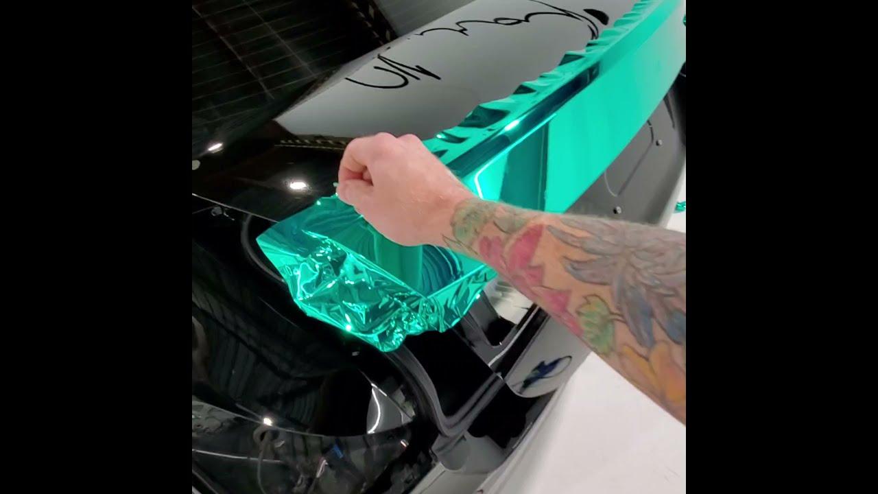 Turquoise Chrome Trunk Vinyl Wrap Quick & Easy