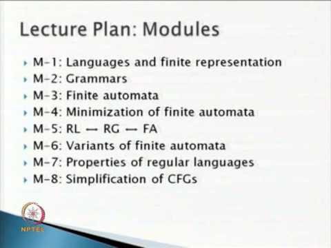 NPTEL :: Mathematics - Formal Languages and Automata Theory