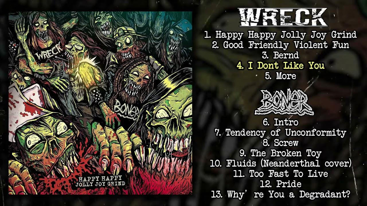 "Download Wreck / Boner - Happy Happy Jolly Joy Grind split 7"" FULL ALBUM (2021 - Grindcore / Powerviolence)"