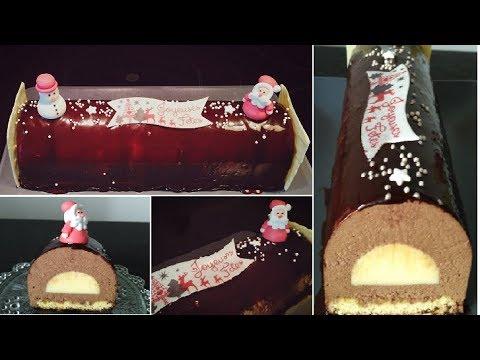 🎅recette-de-bûche-de-noël,insert-vanille,mousse-chocolat-et-glaçage-miror/gâteau-de-fête