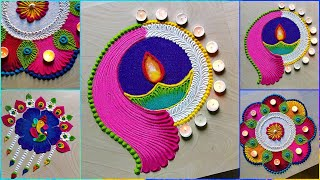 4 diwali & navratri 2020 rangoli designs/ Diya rangoli for diwali festivals by Jyoti