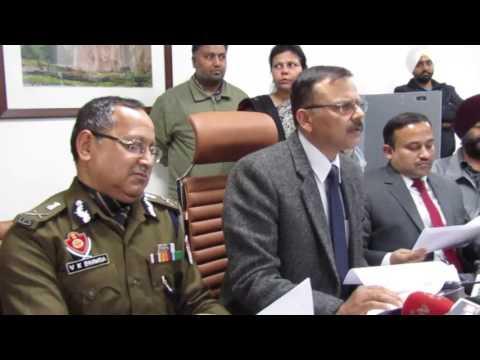 Punjab CEO V K Singh addressing the media in Chandigarh