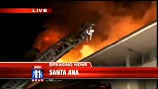 Fire Burns Saddleback Inn in Santa Ana