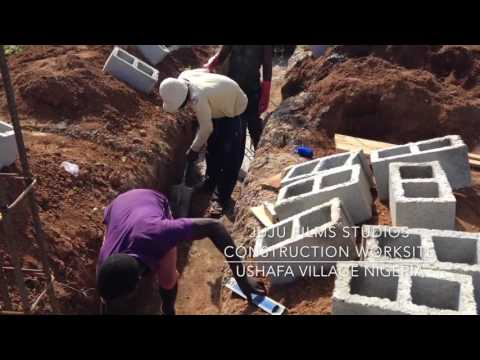 Juju Films Construction Worksite Laying Foundation Ushafa Village Nigeria
