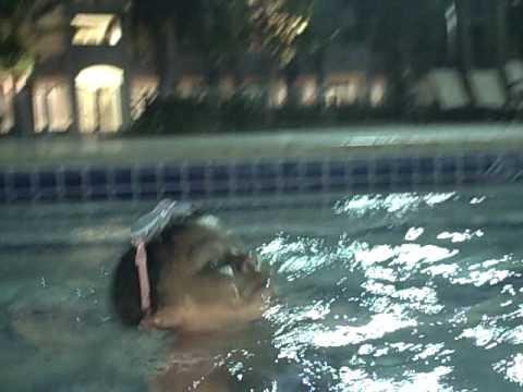 olivia and ali swim @resort
