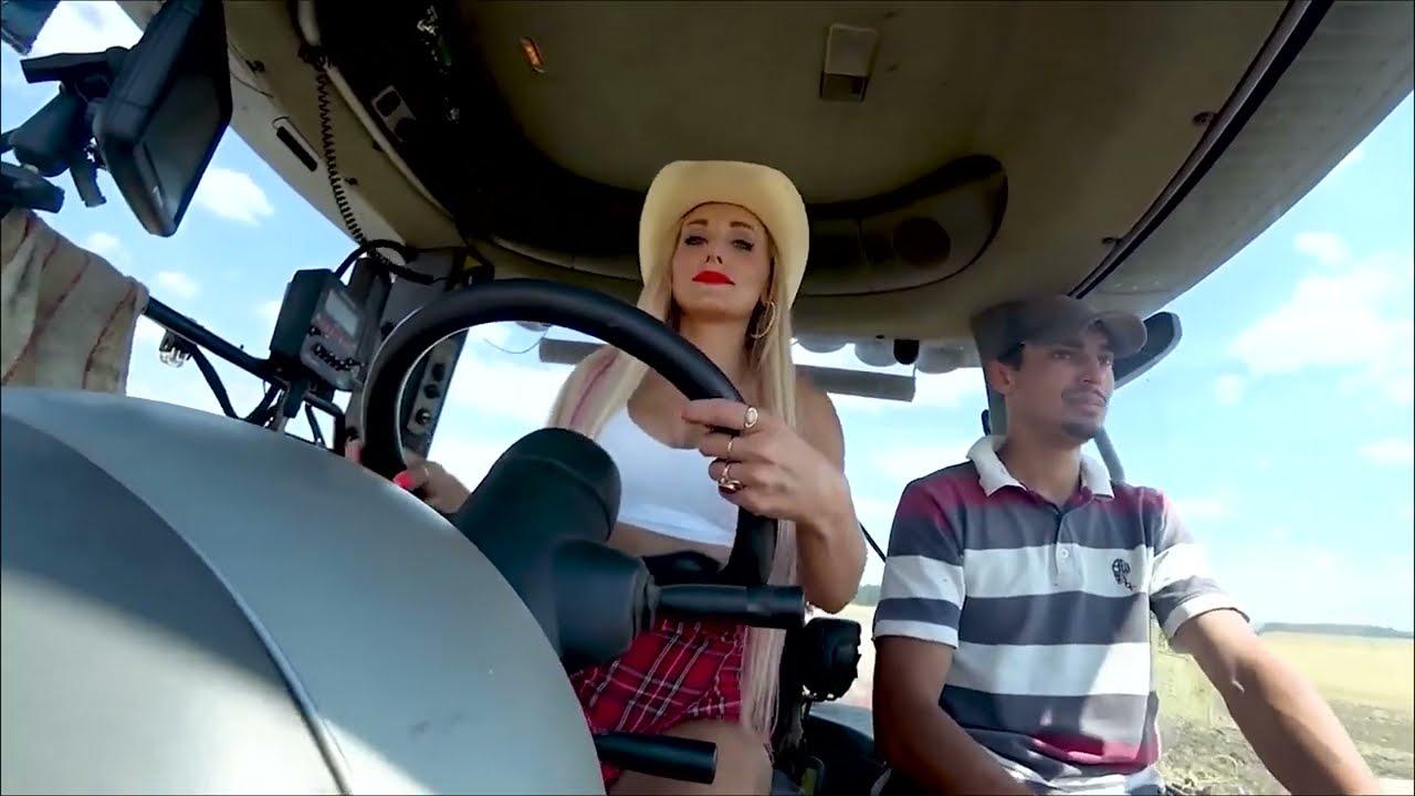 Farm #WithMe Cow Farming Milk Feeding Pretty Girl Modern Combine Harvester Wheat Harvest Hay Bale