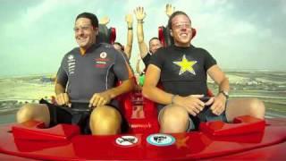 V8 drivers ride Ferrari World Roller Coaster