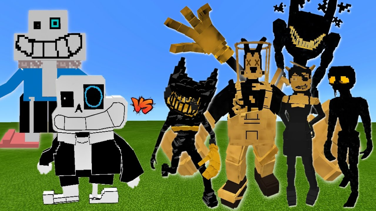 Saness Brothers vs. Bendy And The Ink Machine V3 (All Characters) | Underpants vs BATIM in Minecraft