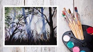 Видео урок Рисуем Акварелью Солнечный лес! #Dari Art