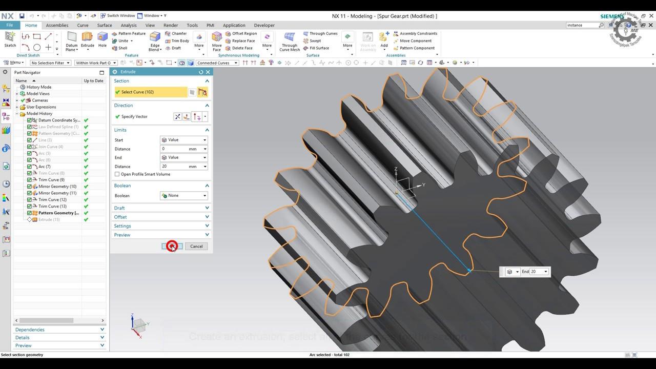 Siemens PLM NX - External Spur Gear Modeling