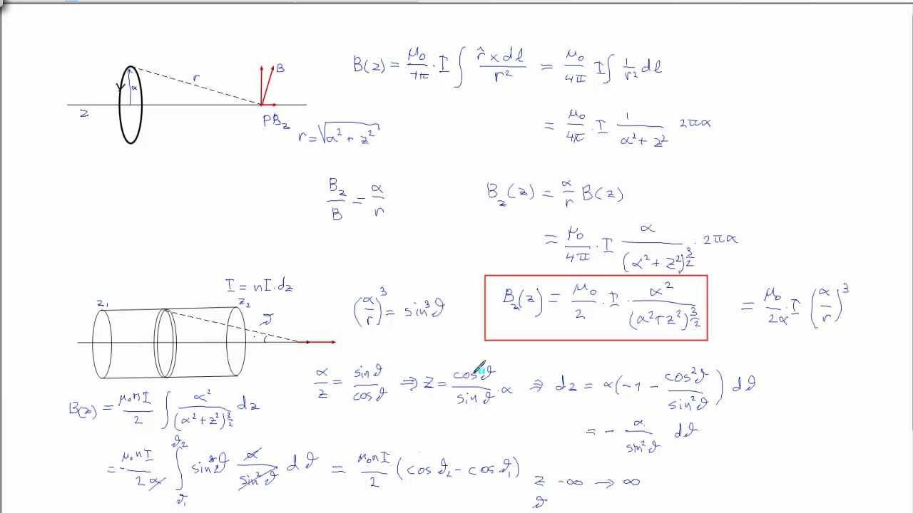 Magnetic field of a Solenoid (mathematical derivation from a current loopt)