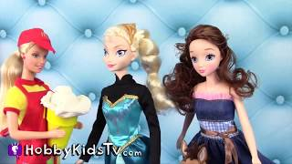 Mcdonalds Barbie Feeds Frozen Elsa, Dorothy, Bullseye Play-doh Ice Cream By Hobbykidstv