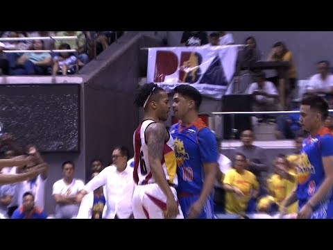 Chris Ross confronts Ryan Reyes after a hard foul | PBA Commissioner's Cup 2017