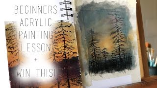 Video Beginners Acrylic Painting Lesson DIY Tutorial + Win This Painting download MP3, 3GP, MP4, WEBM, AVI, FLV Maret 2018