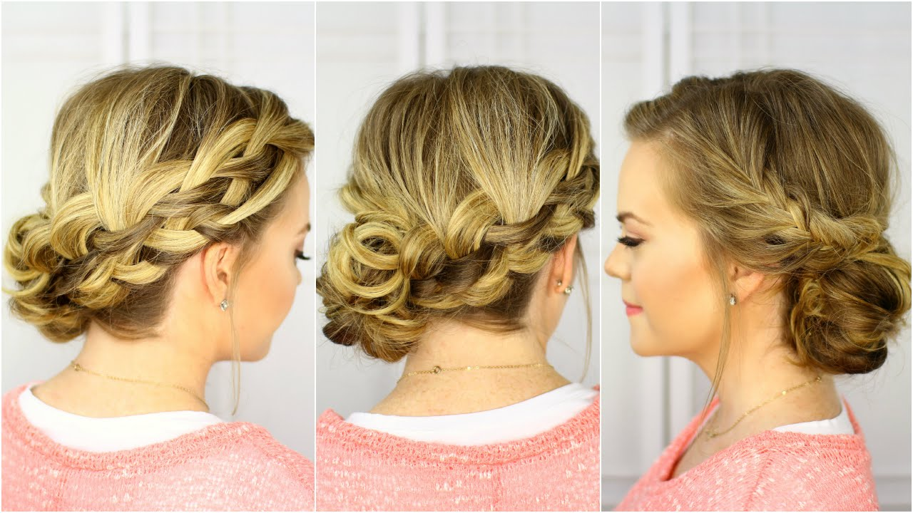 Waterfall French Braid Updo Youtube