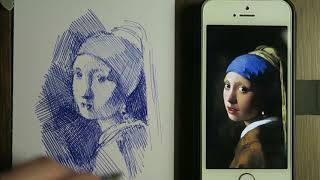 Drawing the girl with the pearl earring by Vermeer - Ball-point - Realtime and narrated