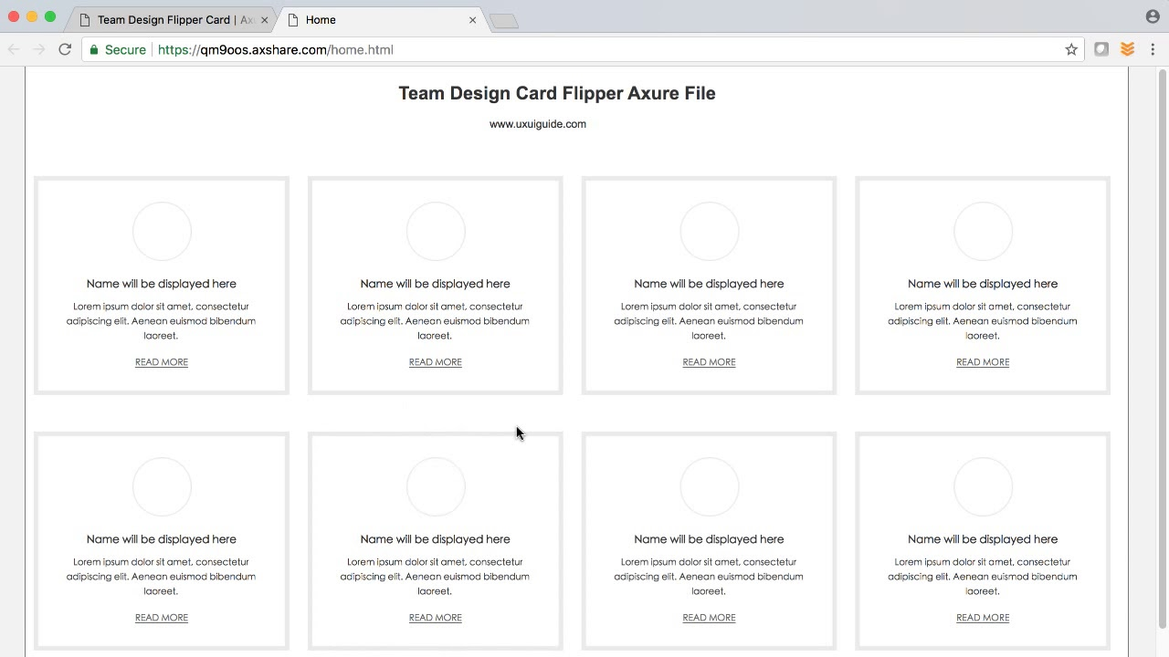 Team Design Flipper Card Axure Rp Template Youtube