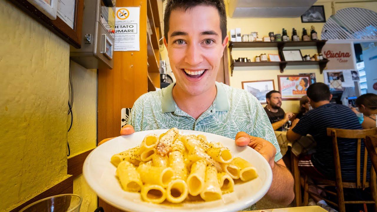 ITALIAN FOOD TOUR 🇮🇹 Perfect 1-Day in Rome!! SUPERB Pasta at Trattoria Da Enzo!