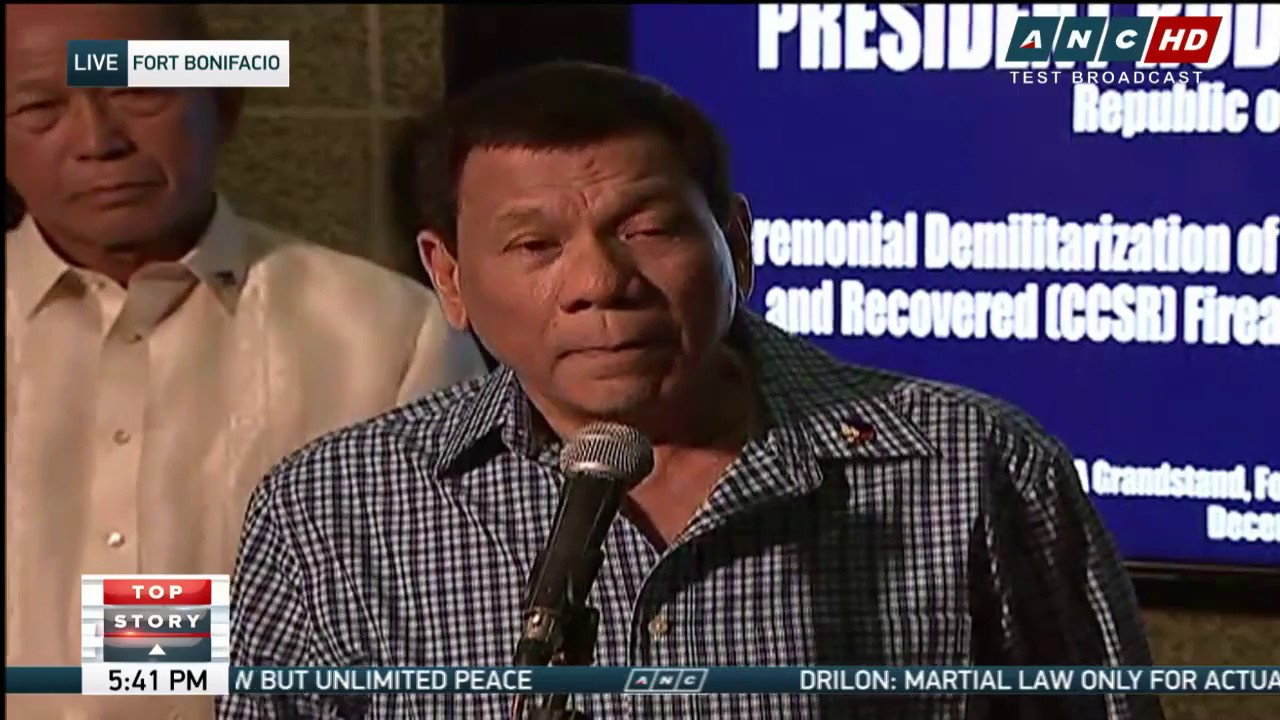 WATCH: President Duterte speaks at the ceremonial demilitarization of  Marawi firearms