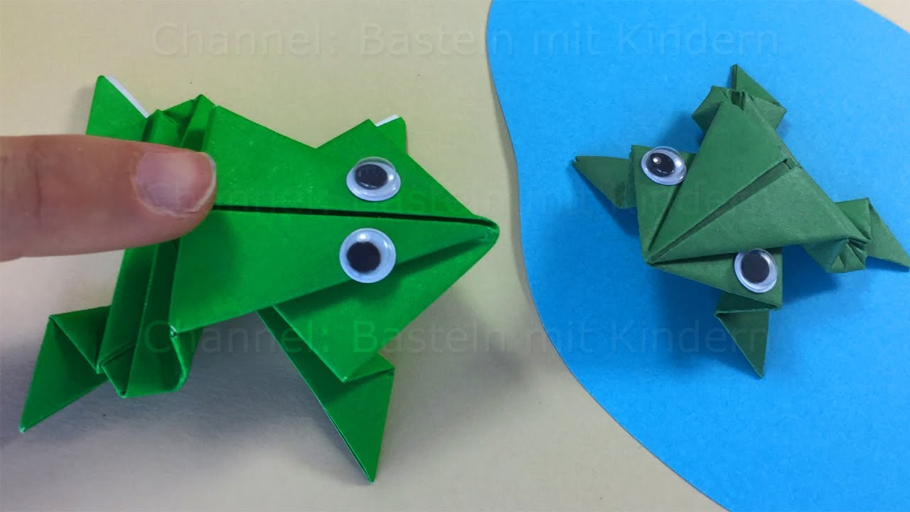 Origami frosch hpfen springen einfachen hpfenden frosch origami frog that jumps easy tutorial paper frog that jumps high and far jeuxipadfo Images
