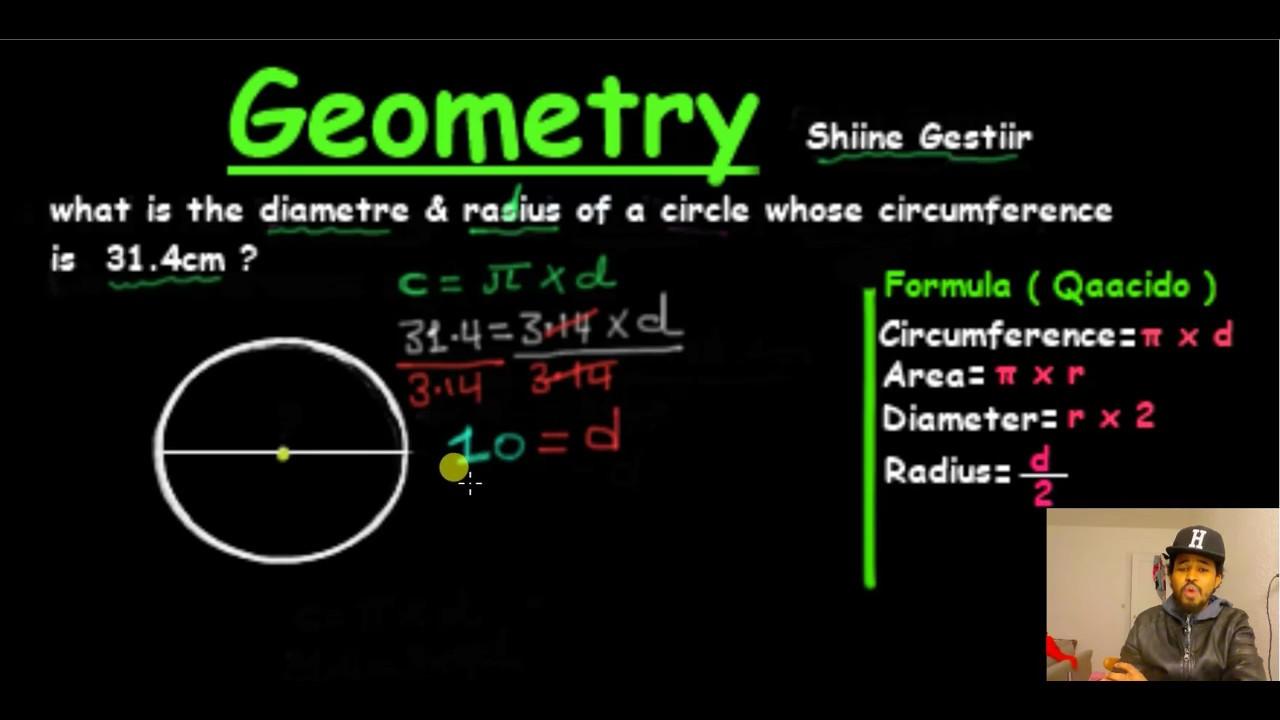 Xisaab Finding diameter and radius of circle ( Af soomaali ) - YouTube