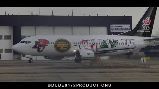 """Canadian North 737-36N """"CFL Livery"""" [C-GCNO] Takeoff from Calgary Airport ᴴᴰ thumbnail"""