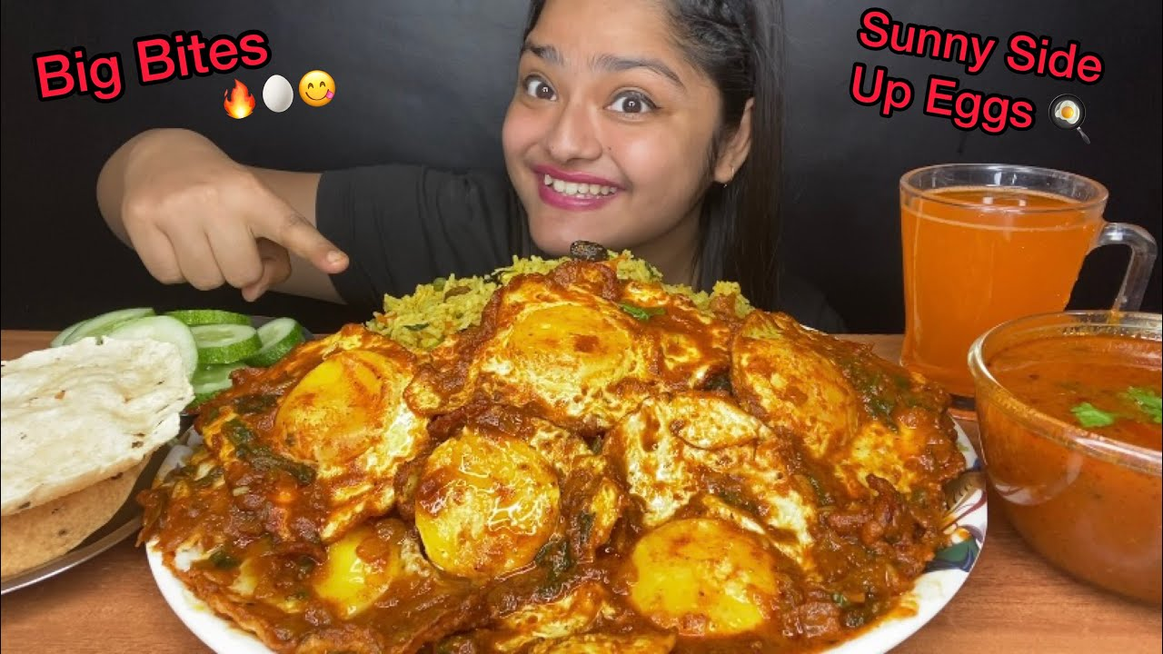SPICY SUNNY SIDE UP EGG CURRY 🔥WITH VEGETABLE PULAO AND PAPAD | BIG BITES MUKBANG | EATING SHOW