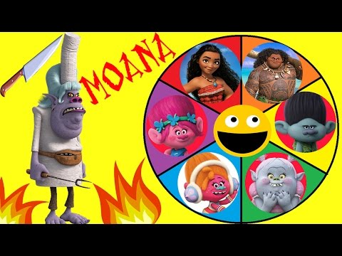 Moana & Trolls Spin the Wheel Game! Poppy, Moana & Bridget go up against Chef Tamatoa & Lava Monster