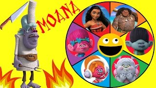 Video Moana & Trolls Spin the Wheel Game! Toy Surprises. Poppy Moana Bridget VS Chef Tamatoa Lava Monster! download MP3, 3GP, MP4, WEBM, AVI, FLV April 2017