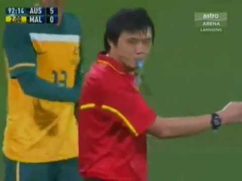 Soccer Player Tackle Referee (Australia v Malaysia)