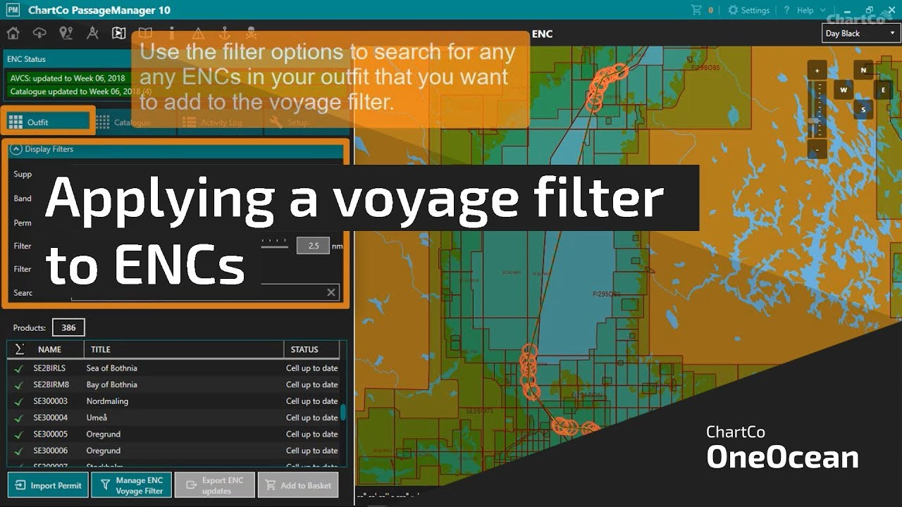 ChartCo OneOcean - Applying ENC voyage filter