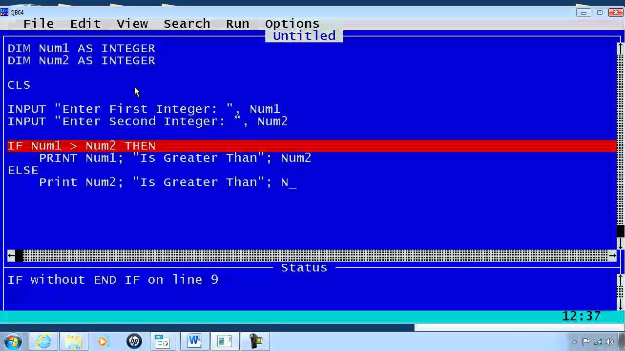 QBasic Tutorial 7 - IF Statements - QB64