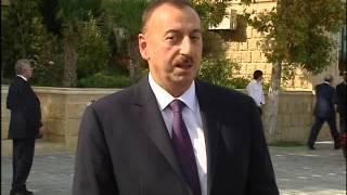 """İlham Əliyevin Yevlaxda yeni salınmış """"Bulvar"""" istirahət mərkəzində sakinlərlə görüşü"""