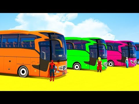 Thumbnail: COLORS for Kids BIG BUS and ATV - Spiderman Superheroes Cartoon & Color Cars for Children
