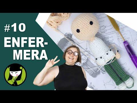 ENFERMERA AMGURUMI 10 final de la cabeza tejida a crochet