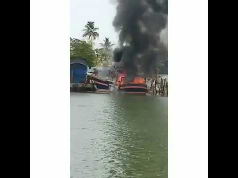 Munambam major fire attack at boat yard