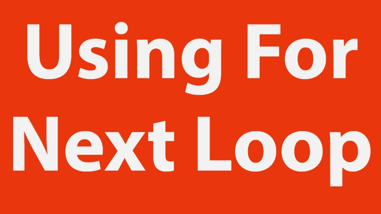 using for loop excel vba